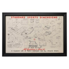 """Standard Sports Dimensions"" A.G. Spalding & Bros, Vintage Poster, circa 1940s"