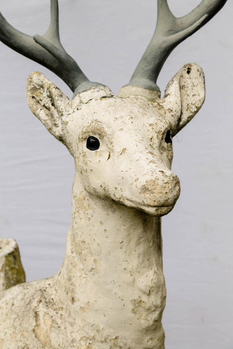 French Standing Cement Deer For Sale