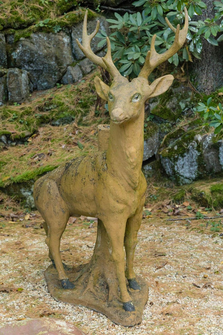 French Composed Stone Stag For Sale