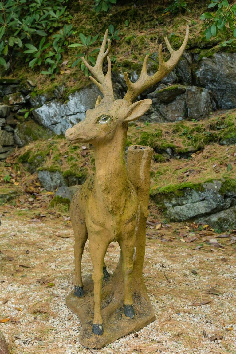 Composed Stone Stag In Good Condition For Sale In Mt Kisco, NY