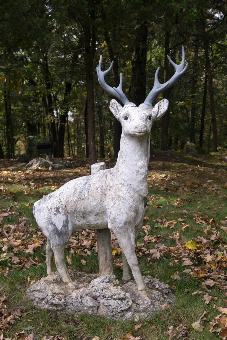19th Century Standing Cement Deer For Sale