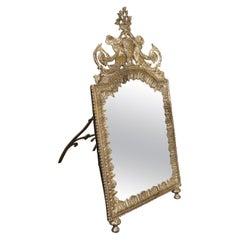 Standing Dressing Table Mirror Continental Silver on Brass