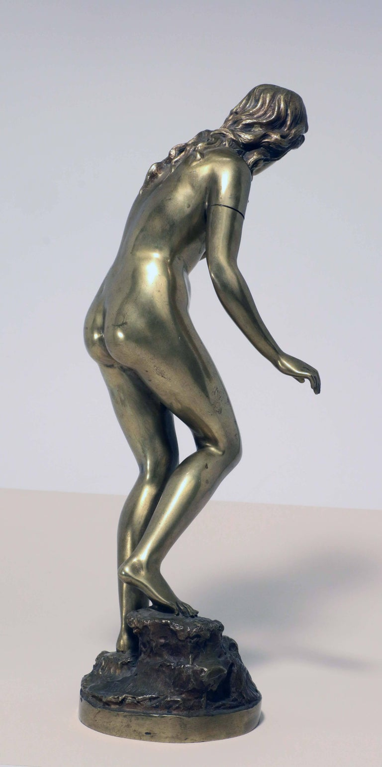 German Standing Female Nude Bather, Bronze Signed Fullborn For Sale