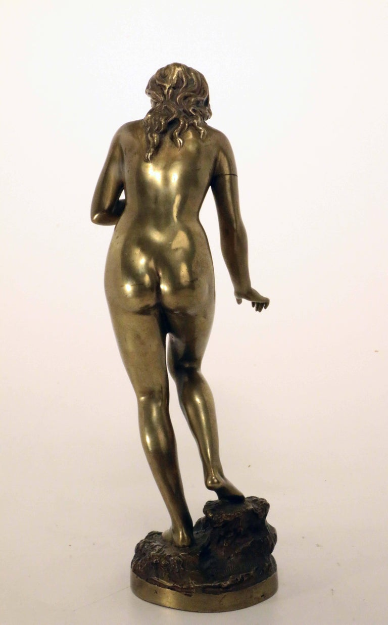 20th Century Standing Female Nude Bather, Bronze Signed Fullborn For Sale