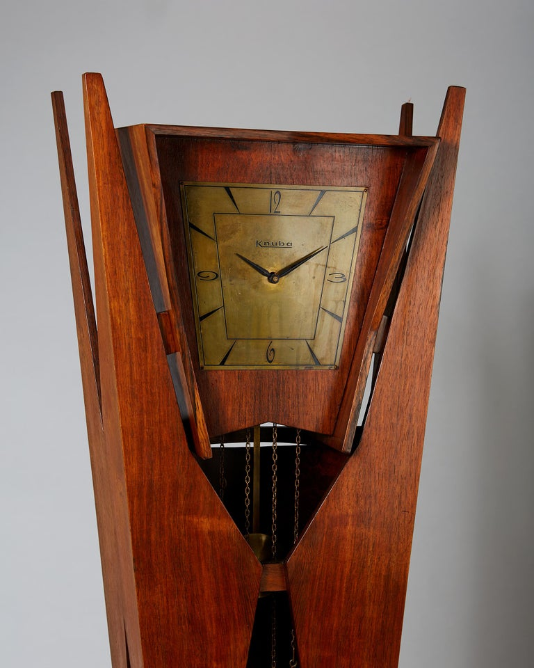 Standing Long-Case Clock, Anonymous, Denmark, 1950s In Good Condition For Sale In Stockholm, SE