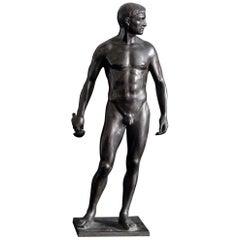 """Standing Male Nude,"" Superb Bronze of Swordsman by Oscar Bodin"