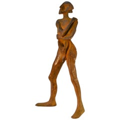 Standing Man Sculpture in Bronze with Brown Patina