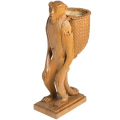 Standing Monkey Wood Sculpture