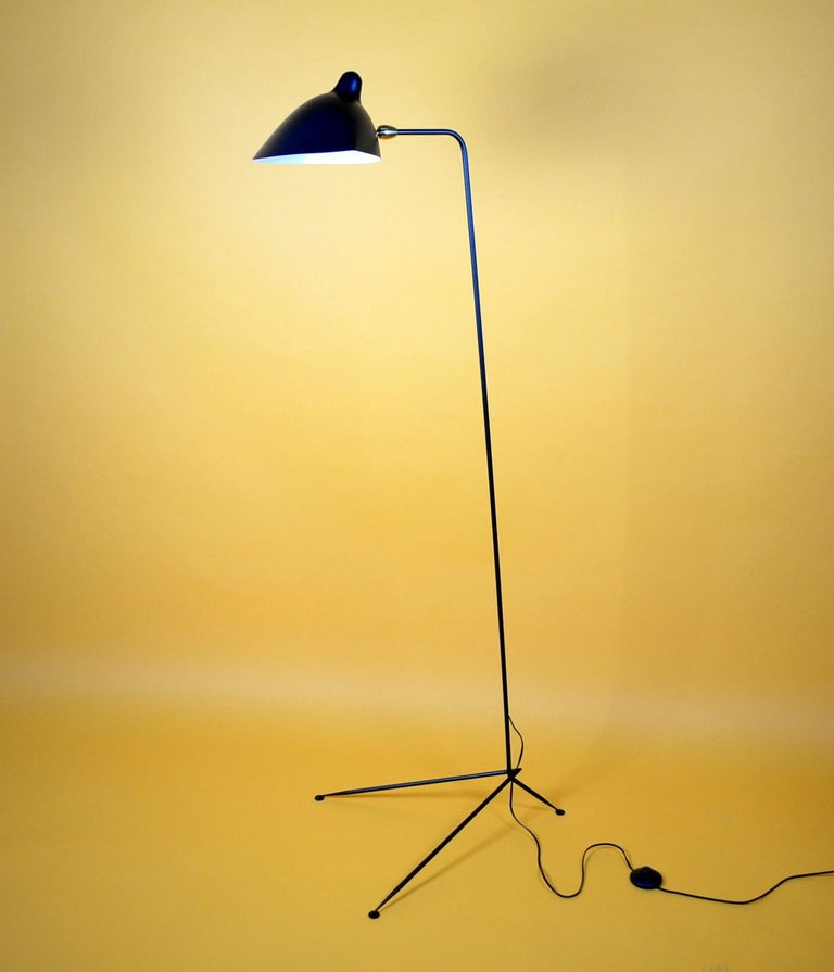Mid-Century Modern Standing One-Arm Lamp by Serge Mouille For Sale
