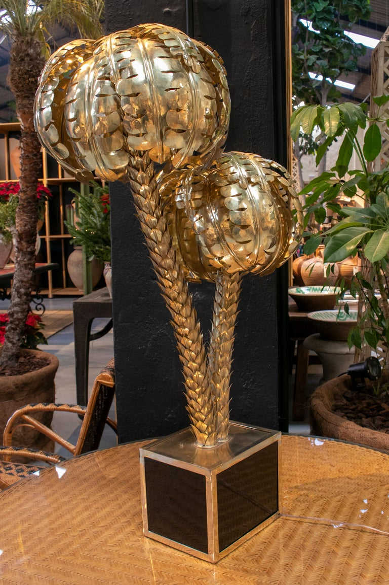 Bronze Standing Polished Golden Brass Twin Palm Lamp with a Square Base For Sale