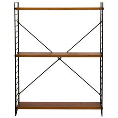 Dutch TOMADO Standing Teak and Metal Bookshelf