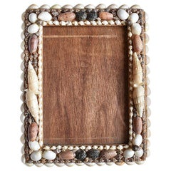 Standing Wooden Sea Shell Encrusted Photo Frame