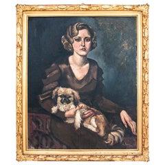 """Stanisława Krzyżanowska """"Portrait of a woman with a dog"""""""