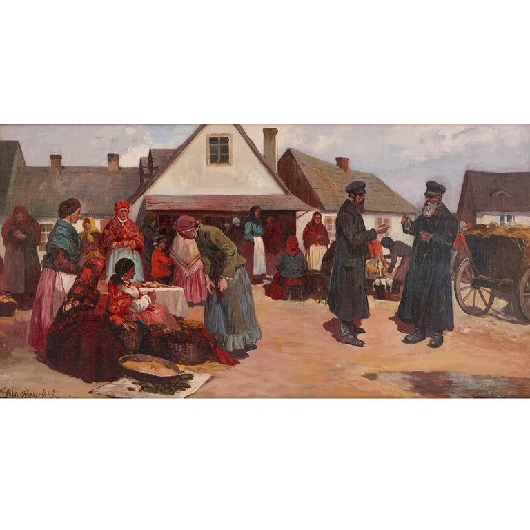 'Market Day in Galicia', oil painting of a Jewish shtetl 2
