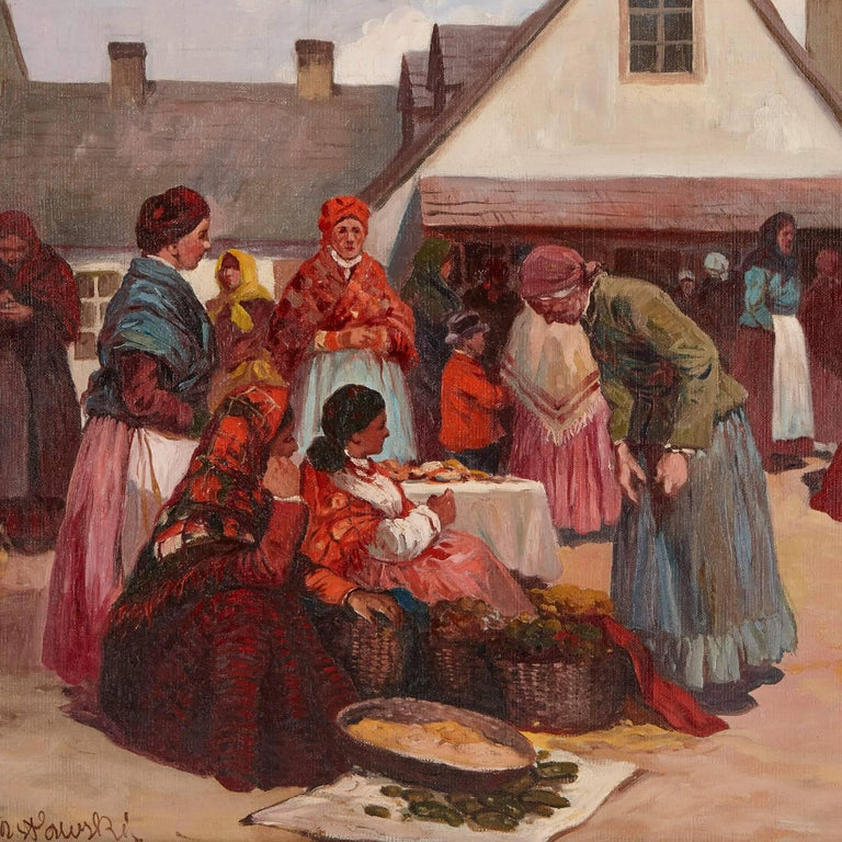 'Market Day in Galicia', oil painting of a Jewish shtetl 3