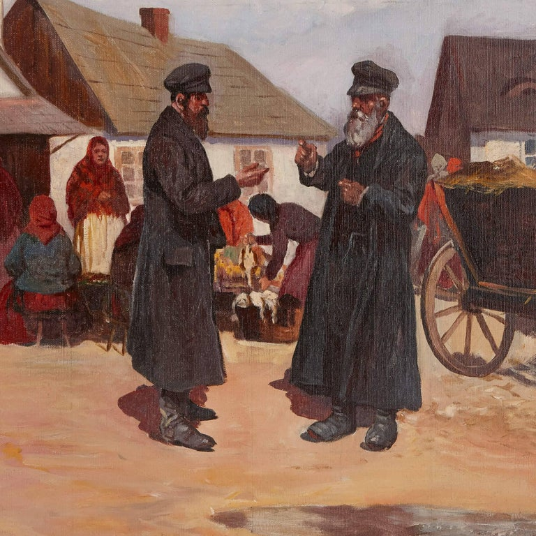'Market Day in Galicia', oil painting of a Jewish shtetl 4