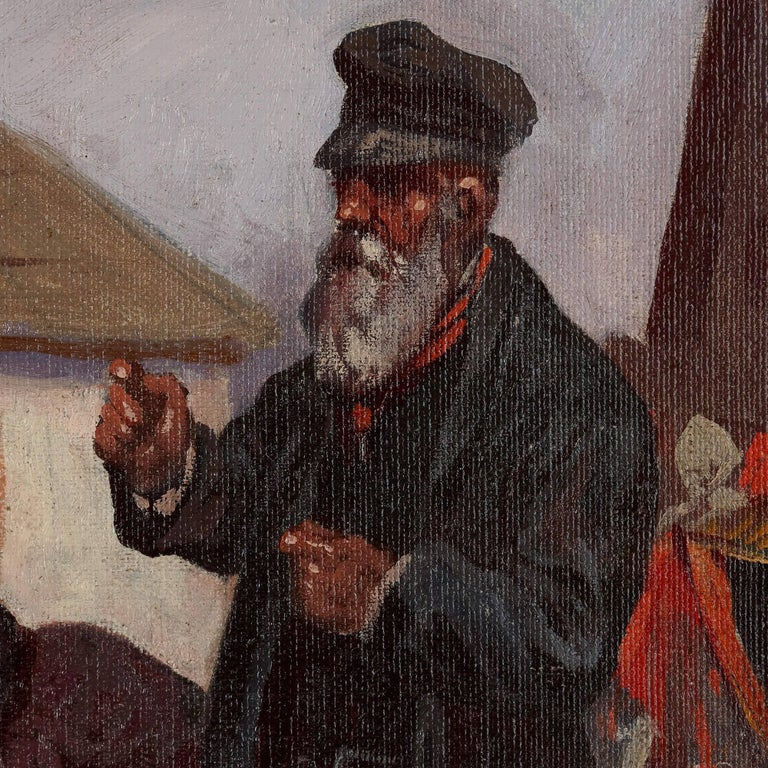 'Market Day in Galicia', oil painting of a Jewish shtetl 6