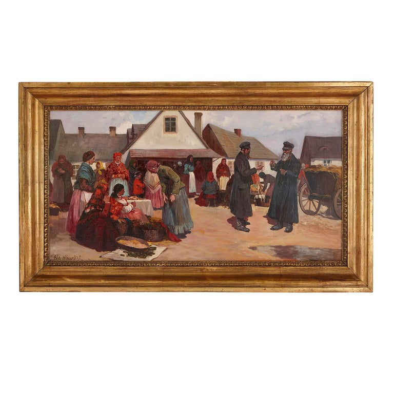 'Market Day in Galicia', oil painting of a Jewish shtetl 1