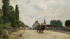 19th Century painting of French Provincial Town by Stanislas Lepine