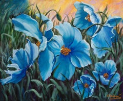 Blue Poppies, Oil Painting