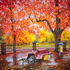 Red and Yellow. Canadian Autumn., Oil Painting