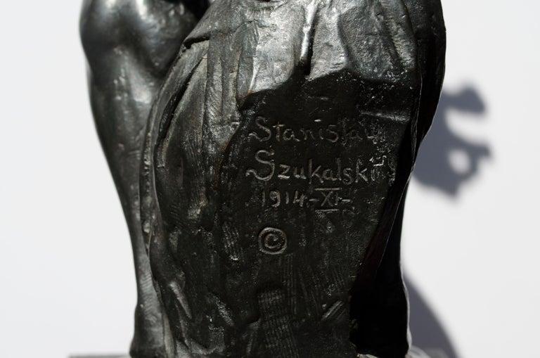 Imploration - Gold Figurative Sculpture by Stanislaw Szukalski