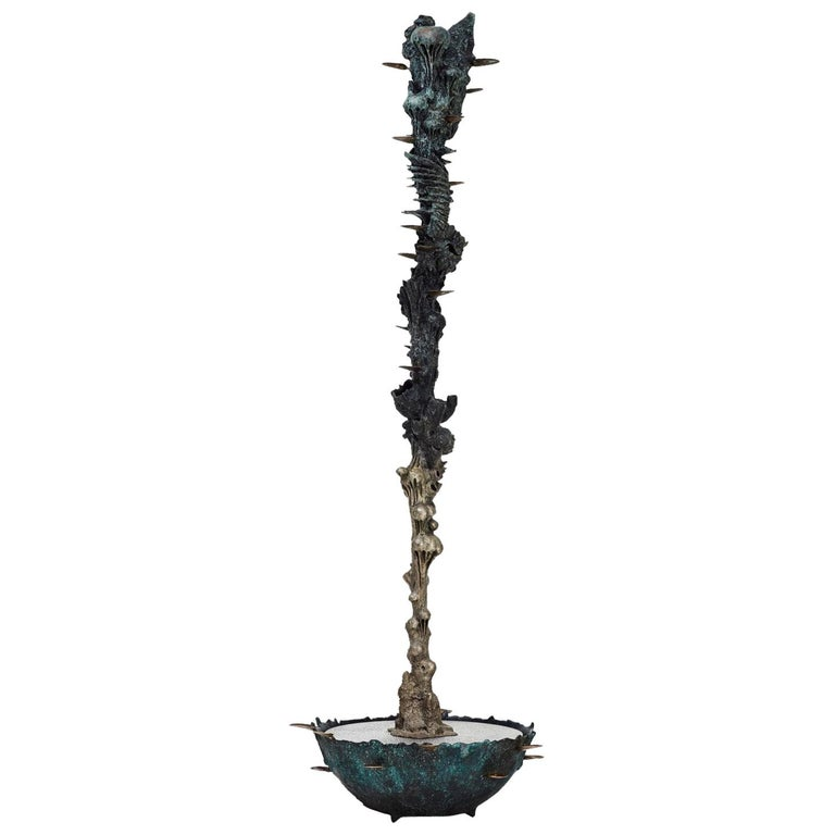 "Stanislaw Trzebinski, ""Aequor Mercury"", Bronze and Steel Water Sculpture For Sale"