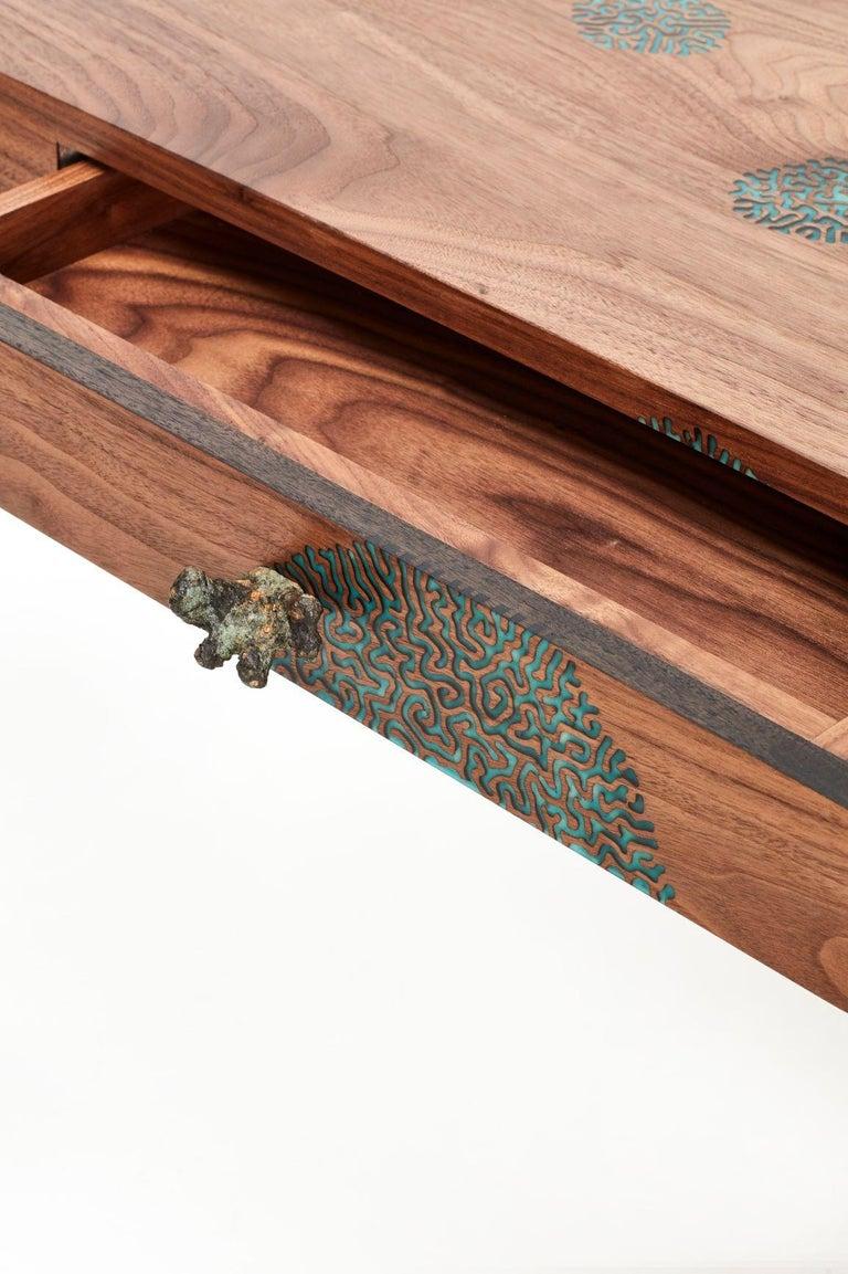 South African Stanislaw Trzebinski, Pugillarem Meridium, Bronze, Carved Walnut Wood Desk For Sale