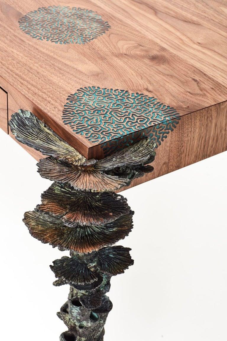 Patinated Stanislaw Trzebinski, Pugillarem Meridium, Bronze, Carved Walnut Wood Desk For Sale