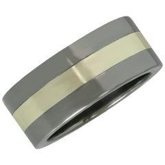 Stanless Steel 10 Karat White Gold Men's Band Ring