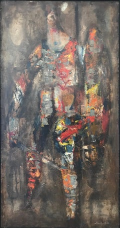 """Centurion"", Circa 1960's Mid-Century Modern Tall Colorful Figurative Oil"