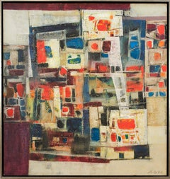 """Flower Market"", 1960's Mid-Century Modern Abstract Geometric Oil Painting"