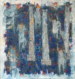 """Forum - Roman Carnival"", 1960s Mid-Century Modern Abstract Figure Oil Painting"