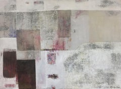 """Great Wall"", 1970's Mid-Century Modern Textured Geometric Abstract Oil Painting"