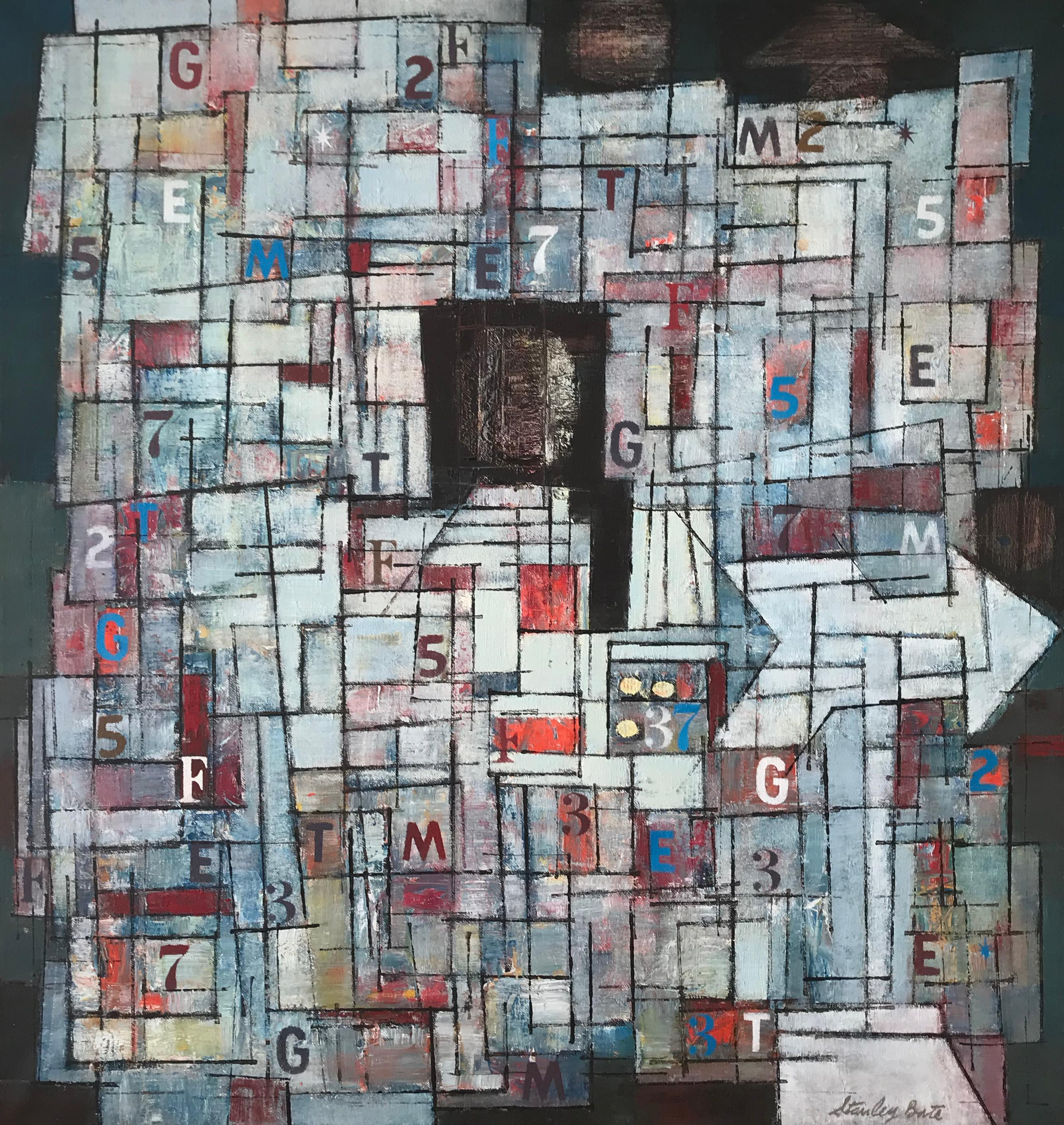 """""""Newstand,"""" 1960s Modern Abstract Painting"""