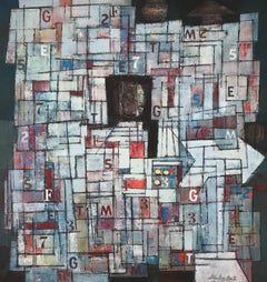 """Newstand"", 1960's Mid-Century Modern Geometric Abstract Oil Painting"