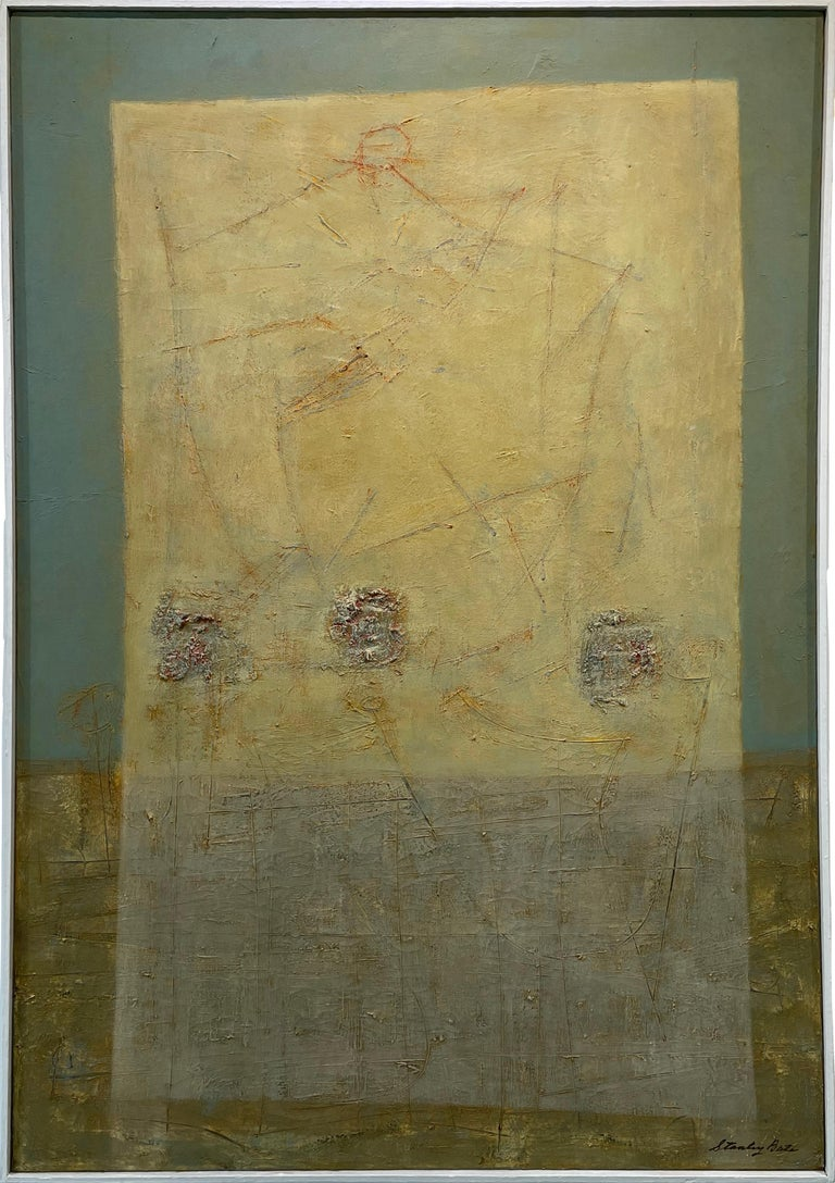 This Modern Abstract Expressionist painting Stanley Bate features a unique, muted green and gold palette. The background is composed of a muted green on the top two-thirds and deep, textured gold on the bottom. A brighter yellow, partly translucent,
