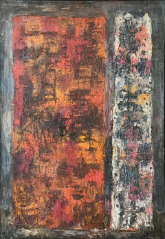 """Stele"", 1960's Mid-Century modern abstract oil painting"