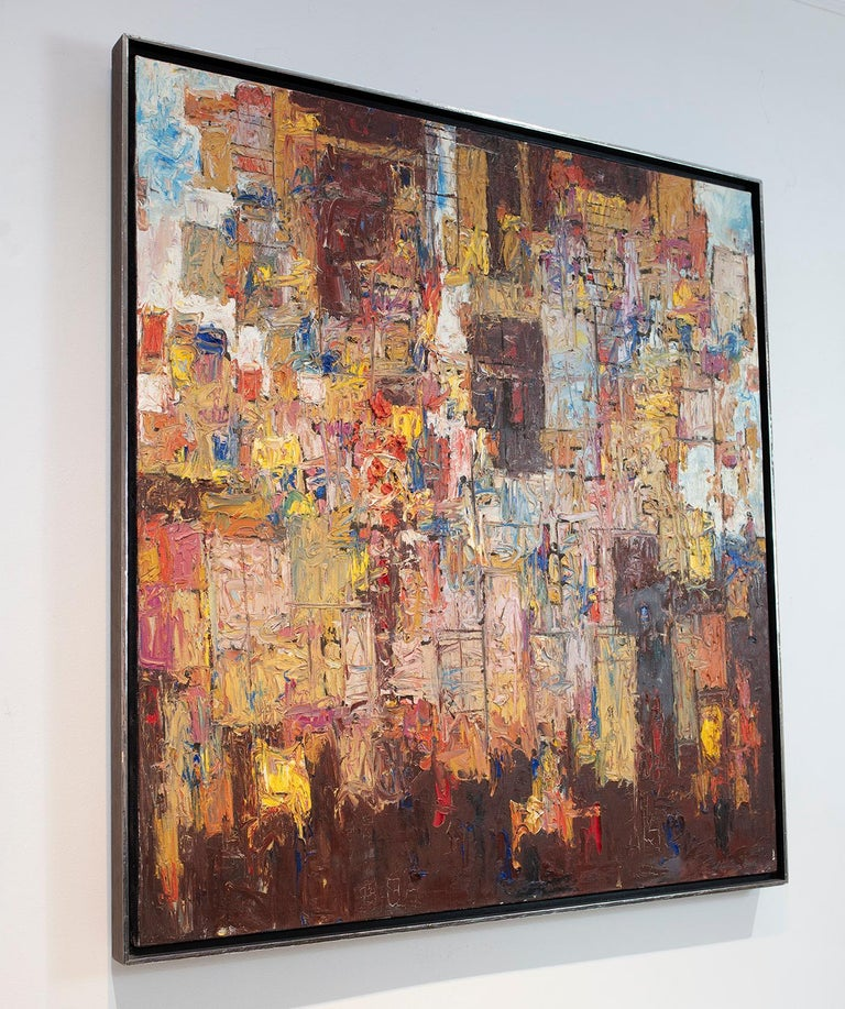 """This Modern abstract painting Stanley Bate features an earthy and warm palette and textured paint application. The painting is signed by artist lower right and is framed in the original 1960s floater frame. The frame size measures at 33.25"""" x 31"""" x"""