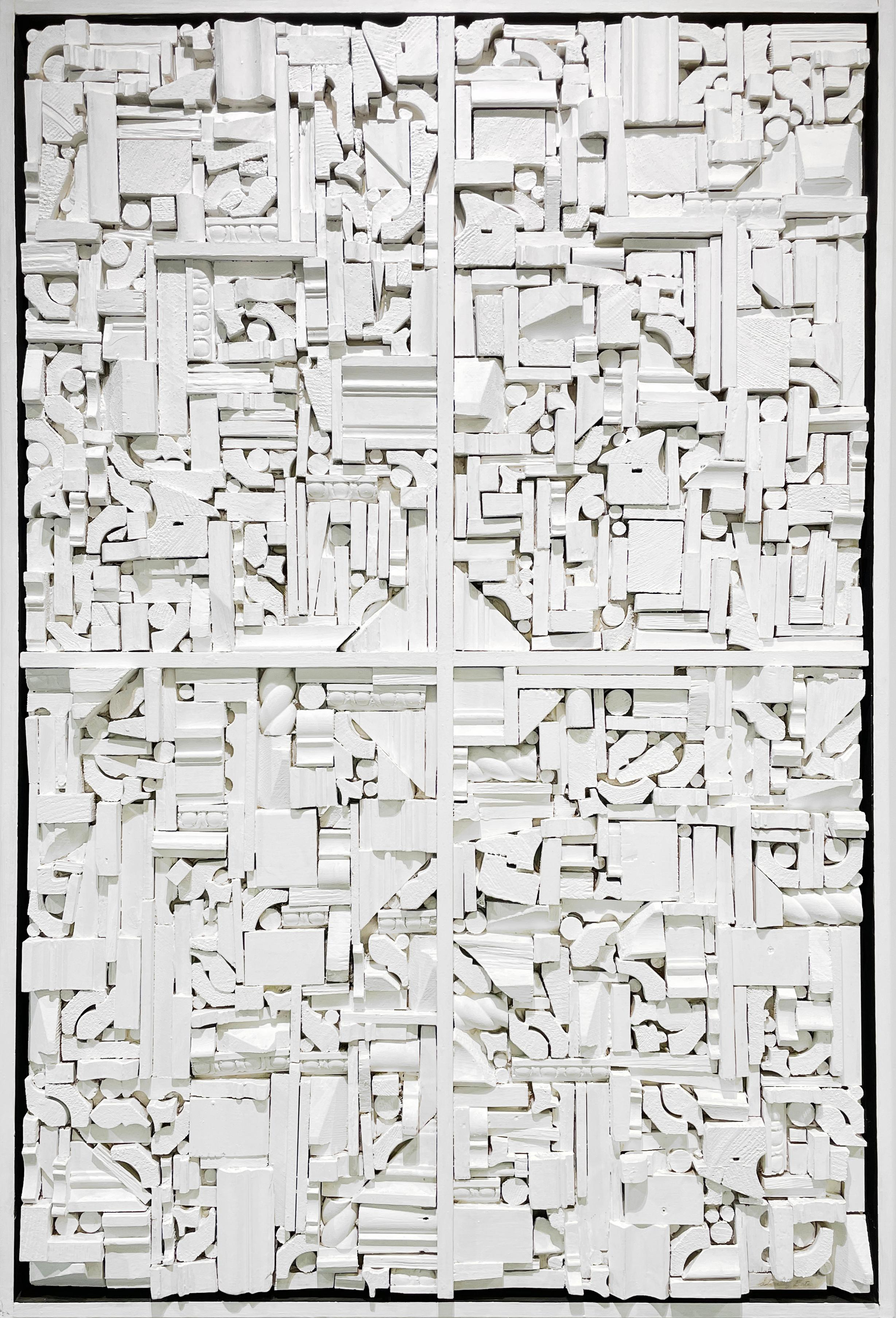 """""""White Construction,"""" 1960s Modern Abstract Wall Sculpture"""