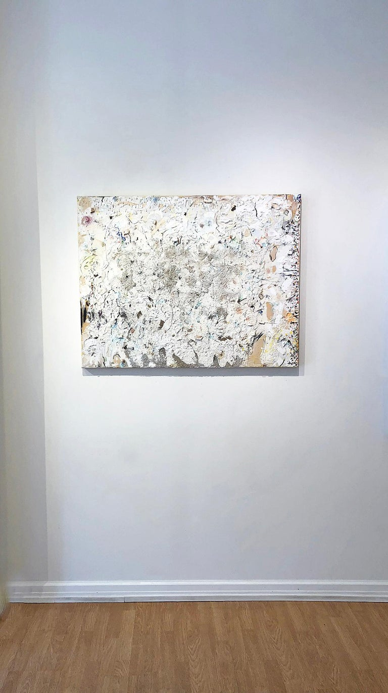 Palebloodscharmedpool - Gray Abstract Painting by Stanley Boxer