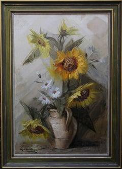 Sunflowers - British art 1960's Impressionist still life floral oil painting