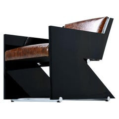 Stanley Jay Friedman Caesar Black Lacquer and Leather Armchair