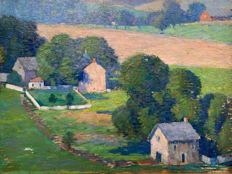 Raven Rock, NJ, Pennsylvania Impressionist Landscape with Houses, Delaware River - Painting by Stanley L. Reckless
