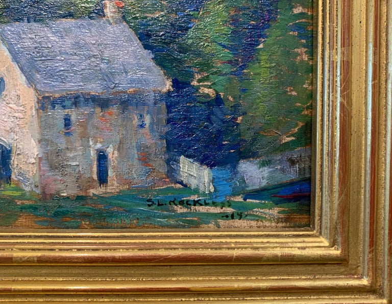 Raven Rock, NJ, Pennsylvania Impressionist Landscape with Houses, Delaware River - American Impressionist Painting by Stanley L. Reckless