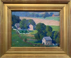 Raven Rock, NJ, Pennsylvania Impressionist Landscape with Houses, Delaware River