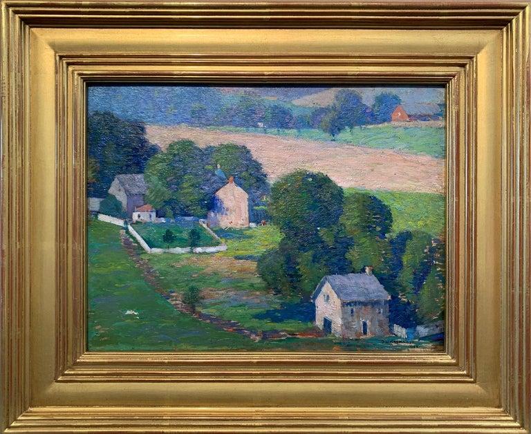 Stanley L. Reckless Landscape Painting - Raven Rock, NJ, Pennsylvania Impressionist Landscape with Houses, Delaware River
