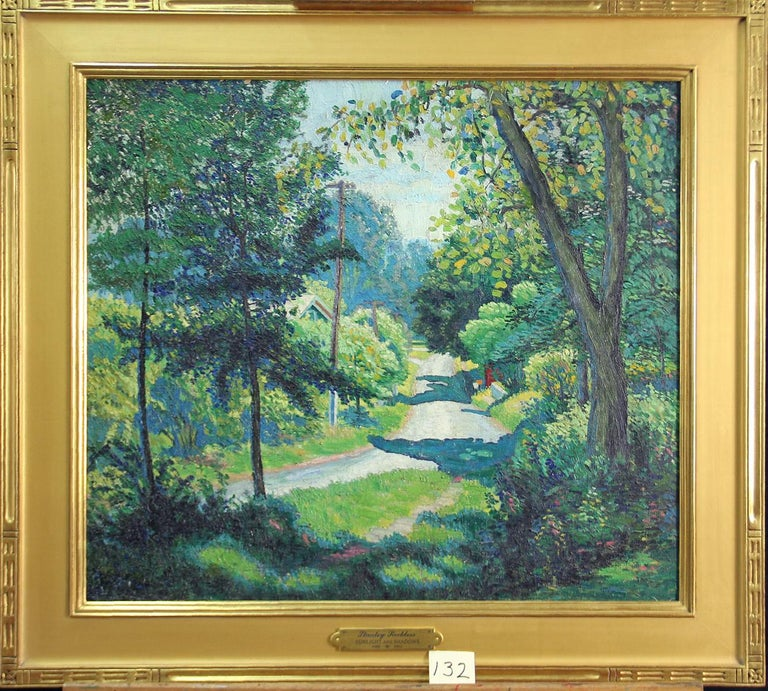 Stanley L. Reckless, Sunlight and Shadows, Oil on Canvas - American Impressionist Painting by Stanley L. Reckless