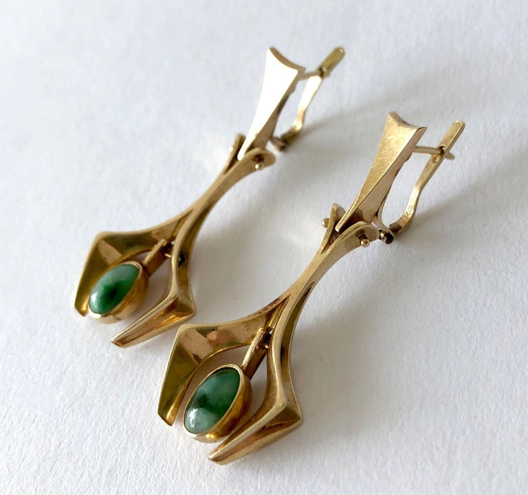 Stanley Lecthzin Gold Jade American Modernist Earrings In Good Condition For Sale In Los Angeles, CA