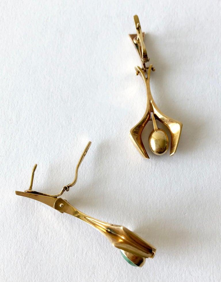 Stanley Lecthzin Gold Jade American Modernist Earrings For Sale 1